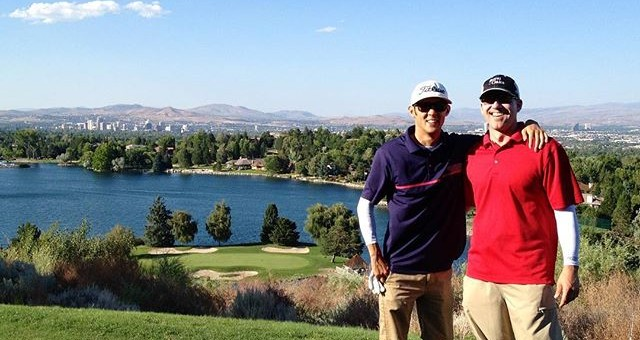 to when we played LakeRidge golf course in Reno for @bhdong bachelor party. @mhicks_8 rocking the Tiger victory Red. The signature 15th hole 220yd island green was much harder to hit than we thought. No GIRs lol still amazing though