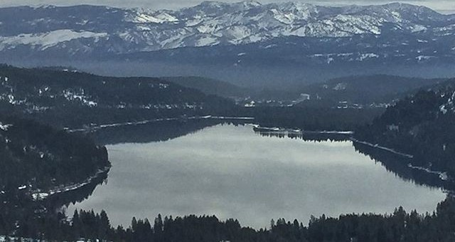Spring Glass looking over Donner Lake with Mount Rose towering over in back ground.
